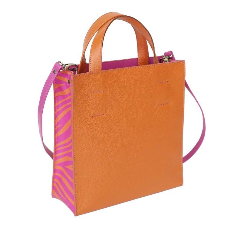 "Сумка пакет Eshemoda ""Апельсин"", размер М, оранжевый с фуксией"