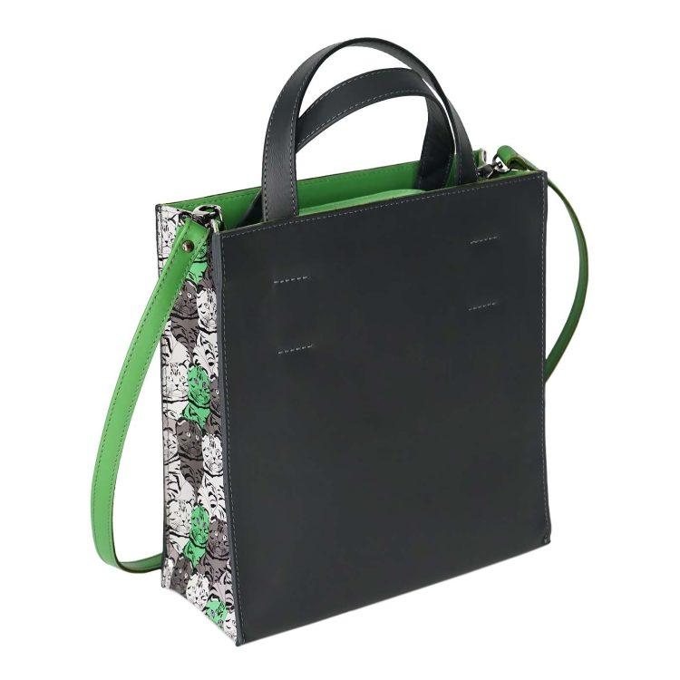 "Сумка пакет Eshemoda ""Котики"", размер М, серо-зеленый"
